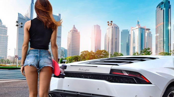 Dmitriy Bilichenko, ass, Lamborghini, Mary Shum, jean shorts, girl with cars, girl, back, cityscape