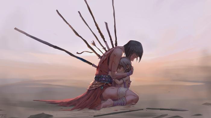 artwork, blood, concept art, sad, girl, children, spear