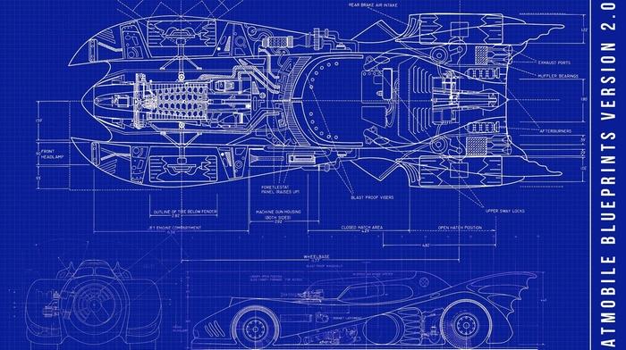 vehicle, Batman, batmobile, blueprints, sketches, car, Batman cars