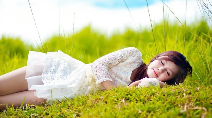 white dress, brunette, Asian, long hair, field, sleeping, girl outdoors, model, lying on side, grass, depth of field, girl, nature, closed eyes, short skirt