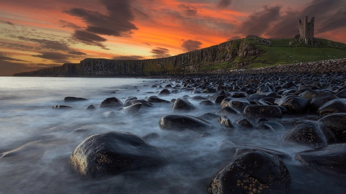 ruins, ruin, stones, sunset, landscape, cliff, sea, UK, nature, clouds, coast, England, waves, water, rock, grass, hill, mountain, castle, long exposure