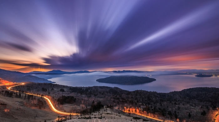 lake, forest, mountain, road, clouds, mist, trees, island, sunset, long exposure, landscape, light trails, water, nature, hill