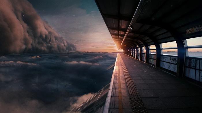 Iceland, train station, beach, stormtrooper, Hearthstone, futuristic, cliff, spaceship, Blizzard Entertainment, Illidan, Star Wars, landscape, Diablo III, clouds, Overwatch, skyline, BlizzCon