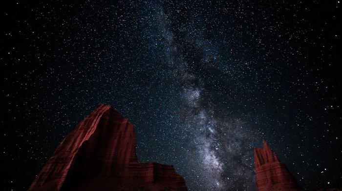 landscape, nature, desert, long exposure, erosion, Milky Way, galaxy, hill, starry night