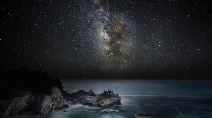 galaxy, beach, landscape, sky, Milky Way, sea, starry night, california, long exposure, nature, coast, waterfall