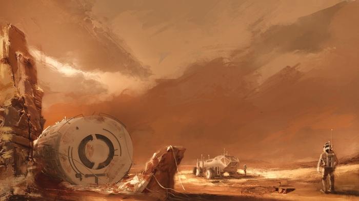 concept art, astronaut, space, planet, artwork