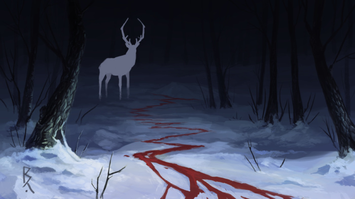 forest, deer, dark, fantasy art, blood, snow