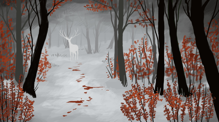 snow, blood, white, fantasy art, deer