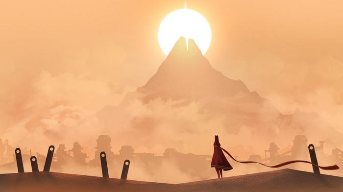 Sun, mountain, vectors, Journey game, landscape