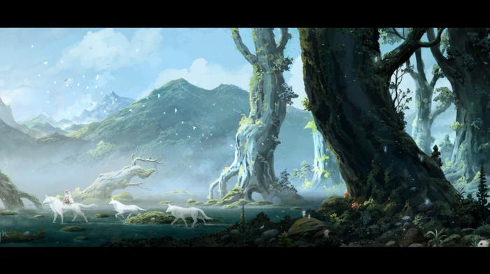 san, Mononoke, Moro, anime, Studio Ghibli, landscape, Princess Mononoke