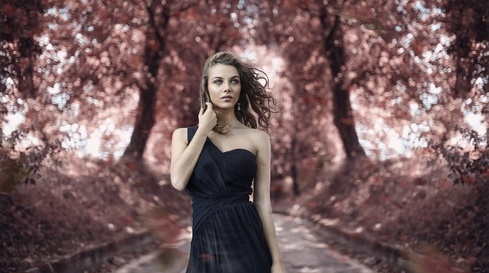 girl outdoors, Alessandro Di Cicco, girl, model, dress, juicy lips, portrait, depth of field, blue eyes