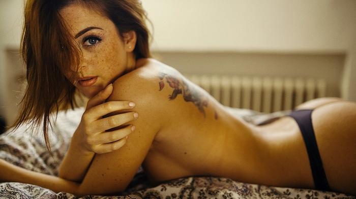 redhead, topless, Andr Josselin, bed, freckles, girl, model, blue eyes, panties, sensual gaze, looking at viewer