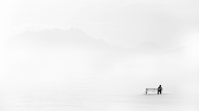 winter, bench, nature, sillhouette, landscape, white background, minimalism, mountain, alone, men, snow, rear view, sitting