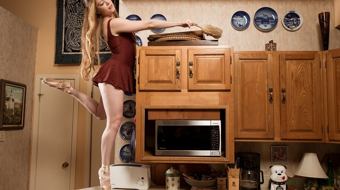 Microwave, looking down, minidress, open mouth, wood, bare shoulders, kitchen, model, ballerina, plates, long hair, legs, girl, table, blonde