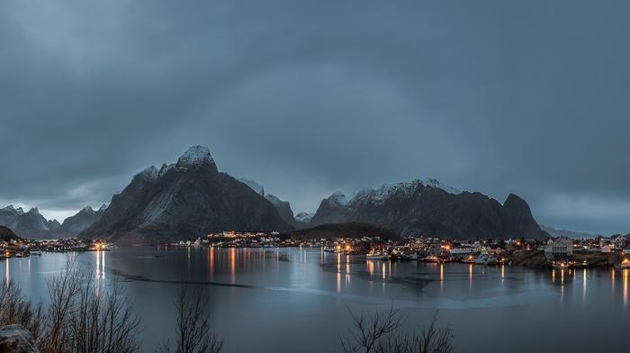 mountain, Lofoten, panorama, landscape, Norway, lake