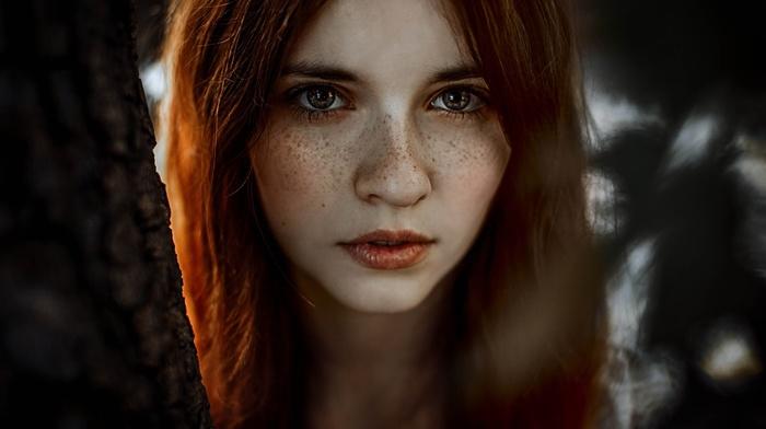 portrait, redhead, model, girl, hazel eyes, freckles, face