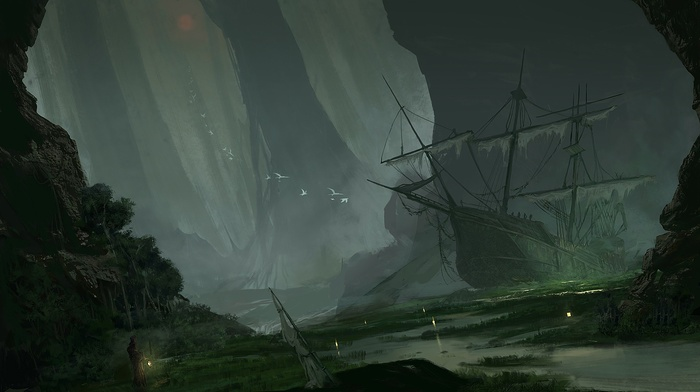 fantasy art, artwork, swamp, sinking ships, ship, sailing ship, abandoned