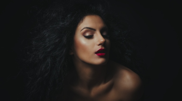 makeup, wavy hair, black hair, bare shoulders, open mouth, girl, eyeliner, portrait, red lipstick, face, model