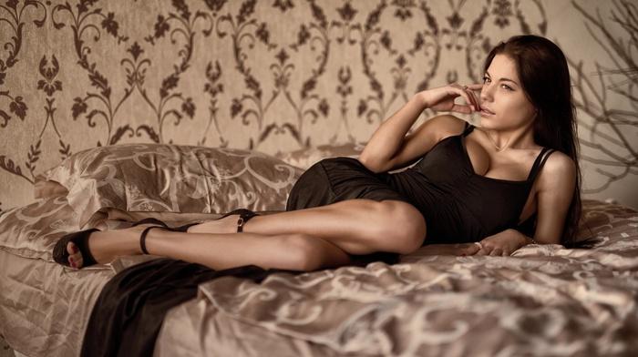 Marina Shimkovich, lying down, girl, dress, boobs, in bed, black dress, brunette, cleavage, big boobs