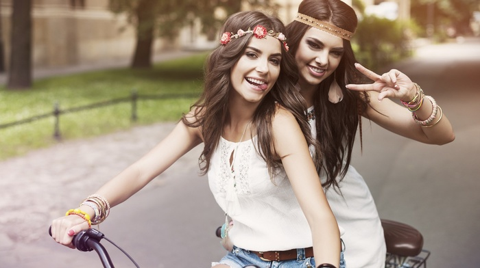 bare shoulders, girl, girl outdoors, teeth, model, white dress, jean shorts, depth of field, bicycle, long hair, urban, street, looking at viewer, open mouth, brunette, headband, trees, tongues, winner, smiling