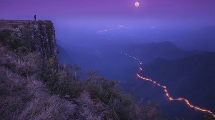 landscape, mist, cliff, shrubs, moonlight, road, nature, lights, mountain, valley, moon, Brasil