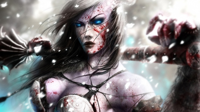 warrior, girl, blood, blue eyes, artwork, fantasy art
