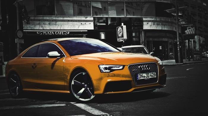 cars, selective coloring, Audi