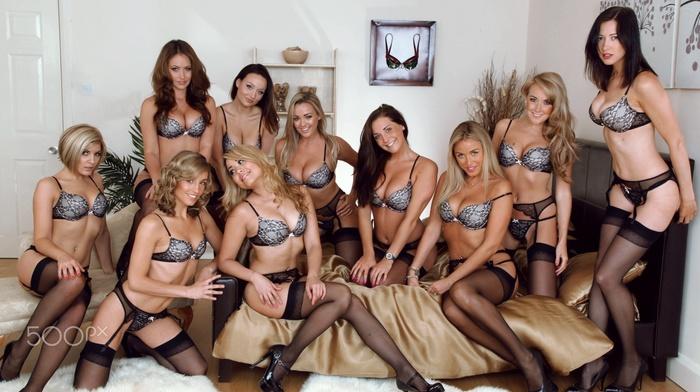 Jodie Gasson, group of girl, pierced navel, brunette, girl, stockings, black stockings, lingerie, sitting, smiling, high heels, blonde, garter belt