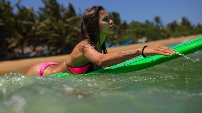 ass, Aleksandr Mavrin, bikini, girl, surfing, brunette