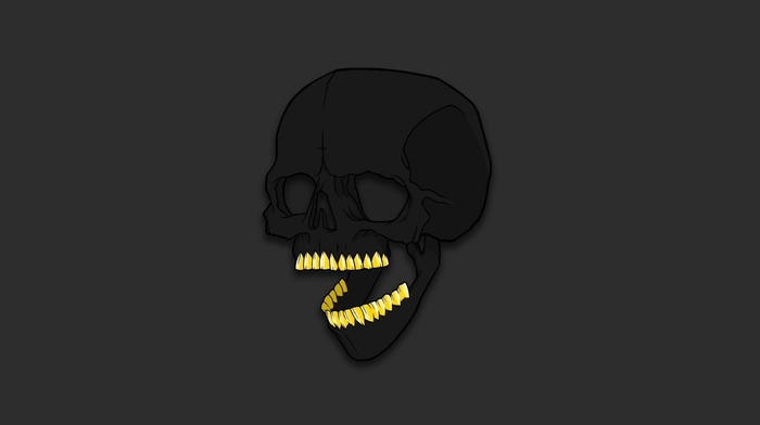 minimalism, gold, teeth, artwork, humor, bones, skull