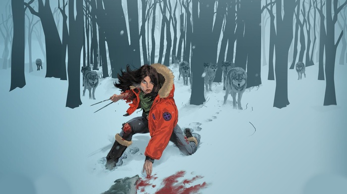 fantasy art, wolves, snow, blood, x, men, 23