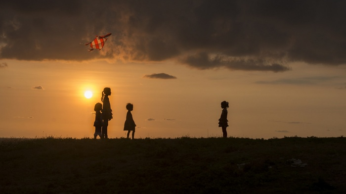 silhouette, children