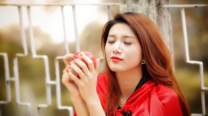 girl, apples, Asian, model