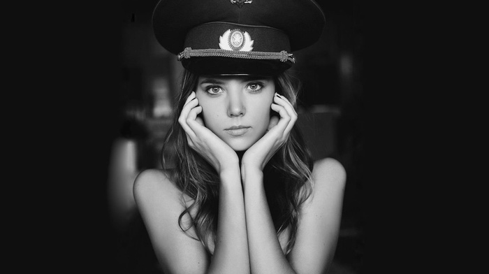 depth of field, hand, brunette, Katya Clover, monochrome, looking at viewer, pornstar, girl, portrait, face, black background, model, bare shoulders, hat, long hair, army girl, USSR