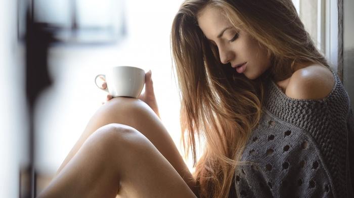 coffee, long hair, blonde, sweater, bare shoulders, closed eyes, girl, legs, model, depth of field