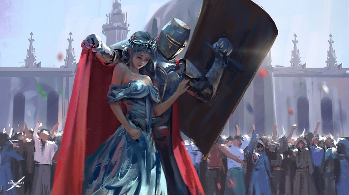 WLOP, girl, knights, painting, knight, artwork, concept art