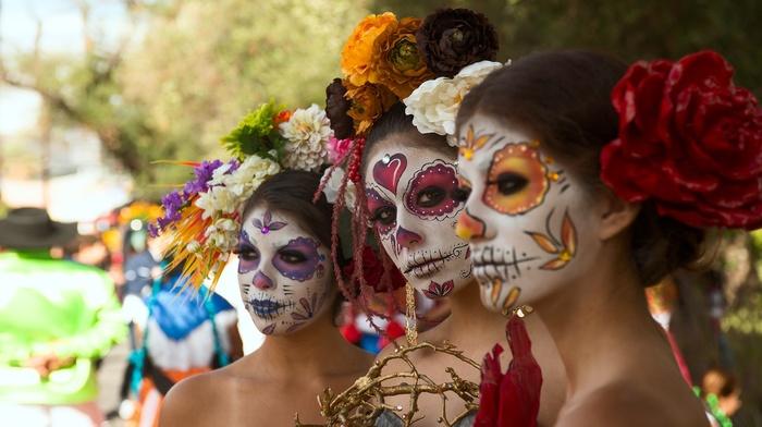girl, model, makeup, Dia de los Muertos