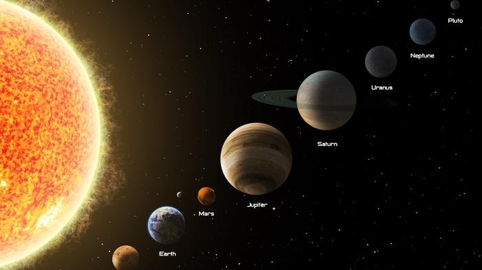 Solar System, Mercury, Uranus, Earth, Mars, Jupiter, Venus, saturn, Neptune, Pluto, Sun, space