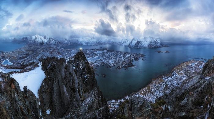 panoramas, torchlight, nature, mountain, sea, snow, winter, Lofoten Islands, Norway, road, landscape, clouds, hiking, sky