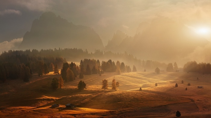 trees, mountain, sunlight, fall, nature, landscape, atmosphere, clouds, cabin, forest, mist, sunrise