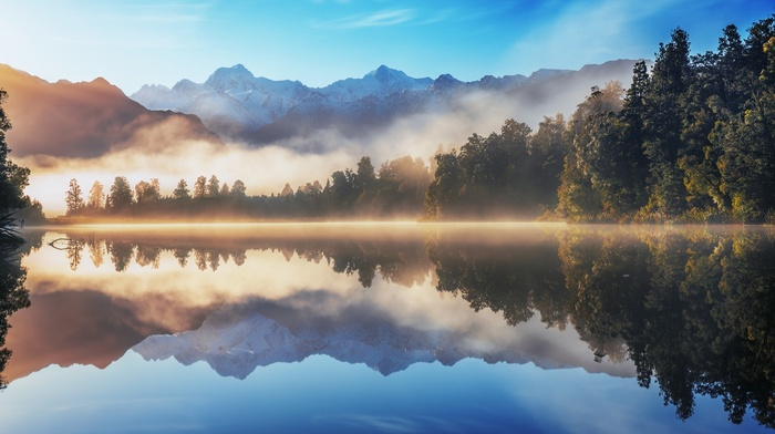 mountain, forest, nature, water, sunrise, lake, mist, landscape, reflection, trees, snowy peak