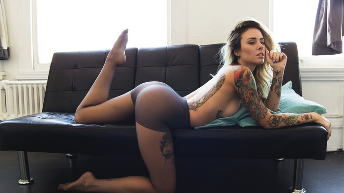 tattoos, couch, girl, model, Justin Swain, pantyhose, blonde, topless, ass, legs up, Alysha Nett