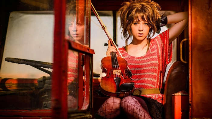 girl, musicians, lindsey stirling, brunette, looking at viewer, violin, sunset