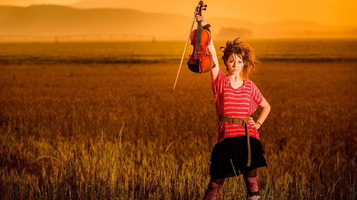 girl, musicians, sunset, violin, lindsey stirling, field, brunette, looking at viewer