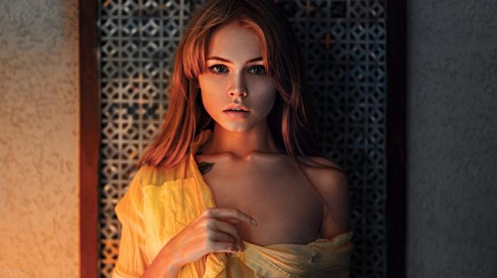 Anastasia Scheglova, juicy lips, Georgiy Chernyadyev, tattoo, model, warm colors, portrait, no bra, girl