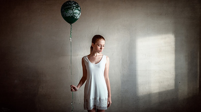 girl, redhead, walls, balloons, Georgiy Chernyadyev, freckles, white dress, dress, balloon