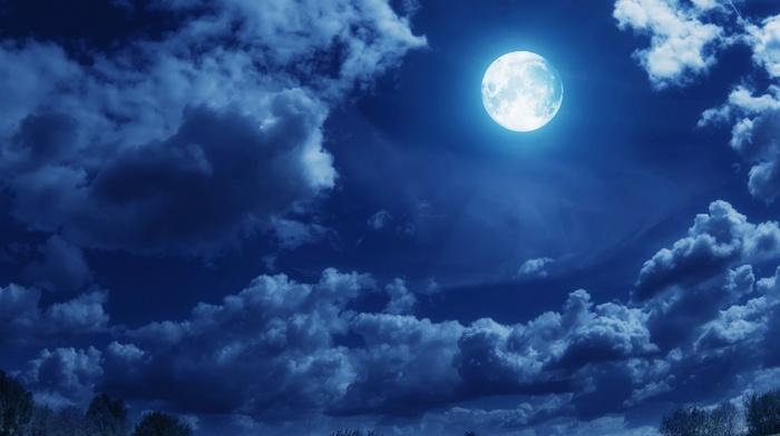 landscape, moon, clouds
