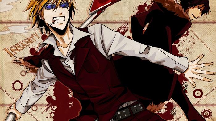cigarettes, Durarara, anime, anime boys, Orihara Izaya, Heiwajima Shizuo, blood