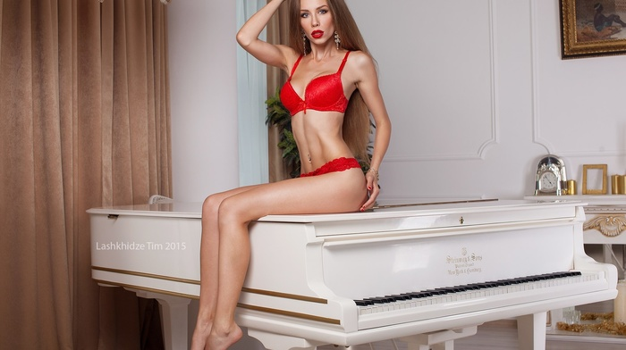 red lingerie, Christine Mokrousova, sitting, girl, blonde, pierced navel, piano
