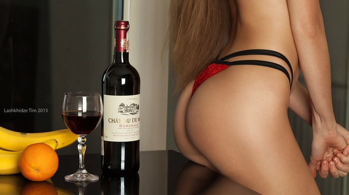 girl, lingerie, blonde, ass, bottles, wine